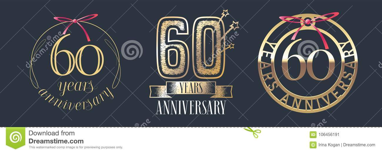60 Years Anniversary Vector Icon Logo Set Stock Vector