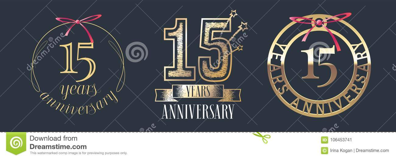 15 Years Anniversary Vector Icon Logo Set Stock Vector