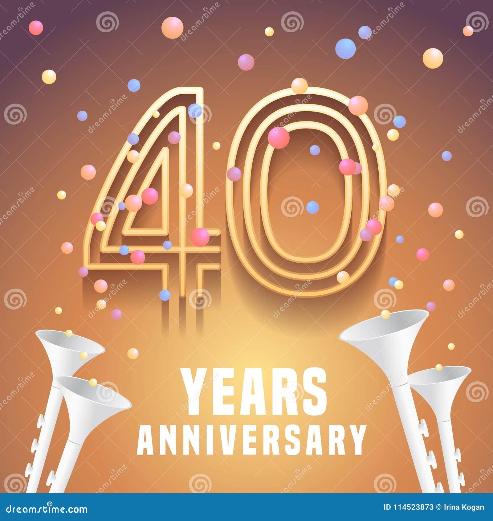 40 Years Anniversary Vector Icon Symbol Stock Vector Illustration