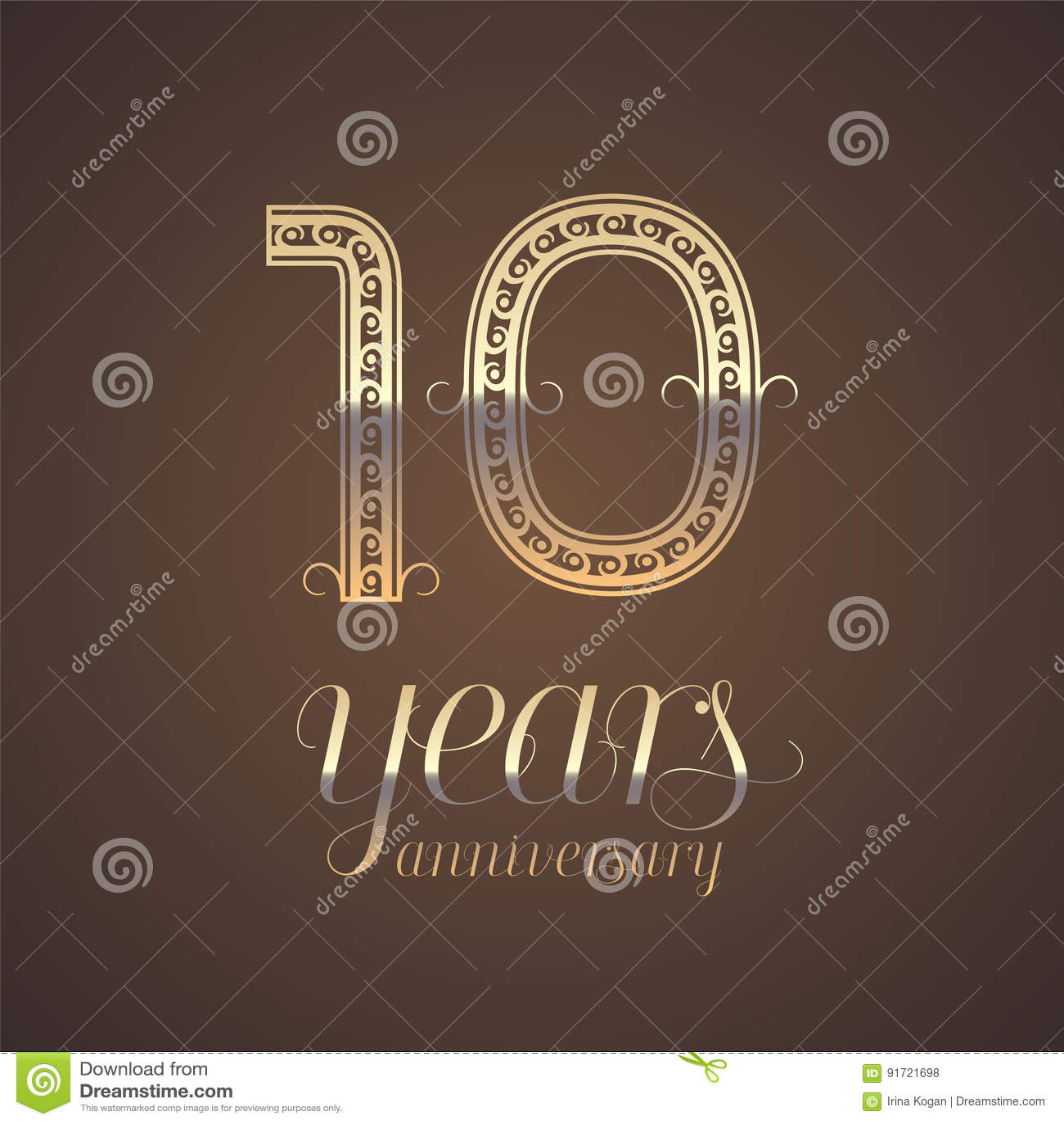 10 Years Anniversary Vector Icon Symbol Stock Vector Illustration