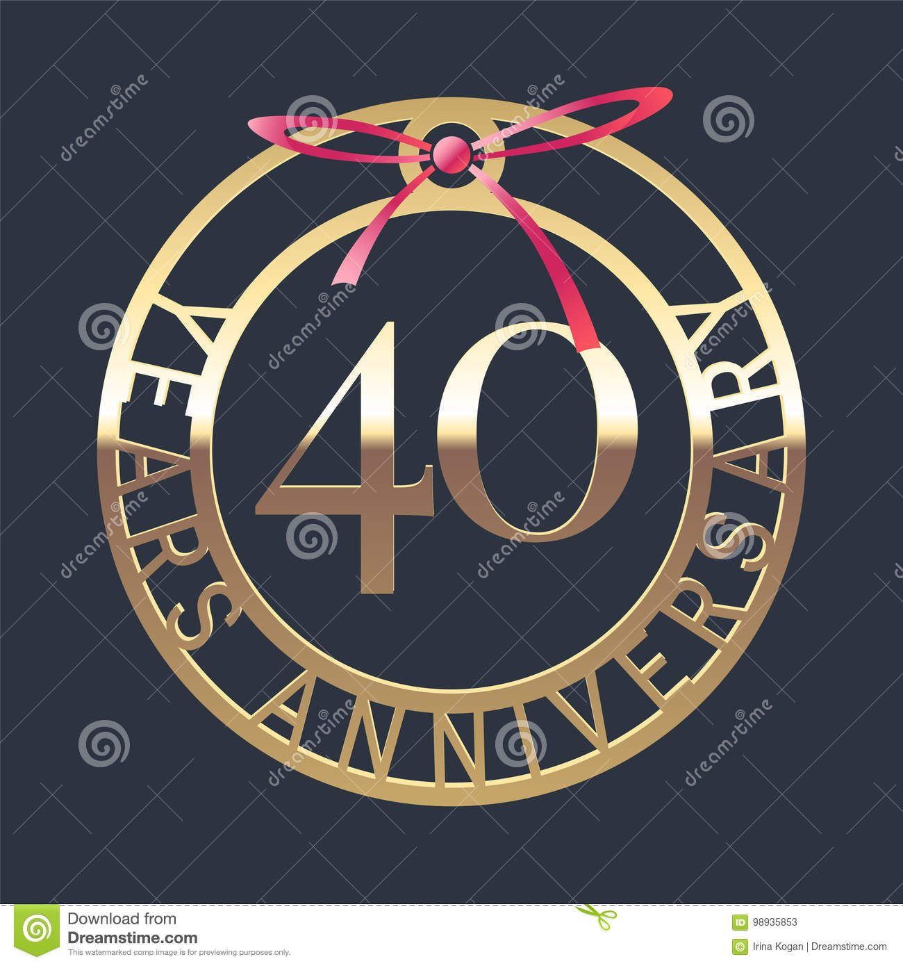 40 Years Anniversary Vector Icon Symbol Stock Vector Illustration