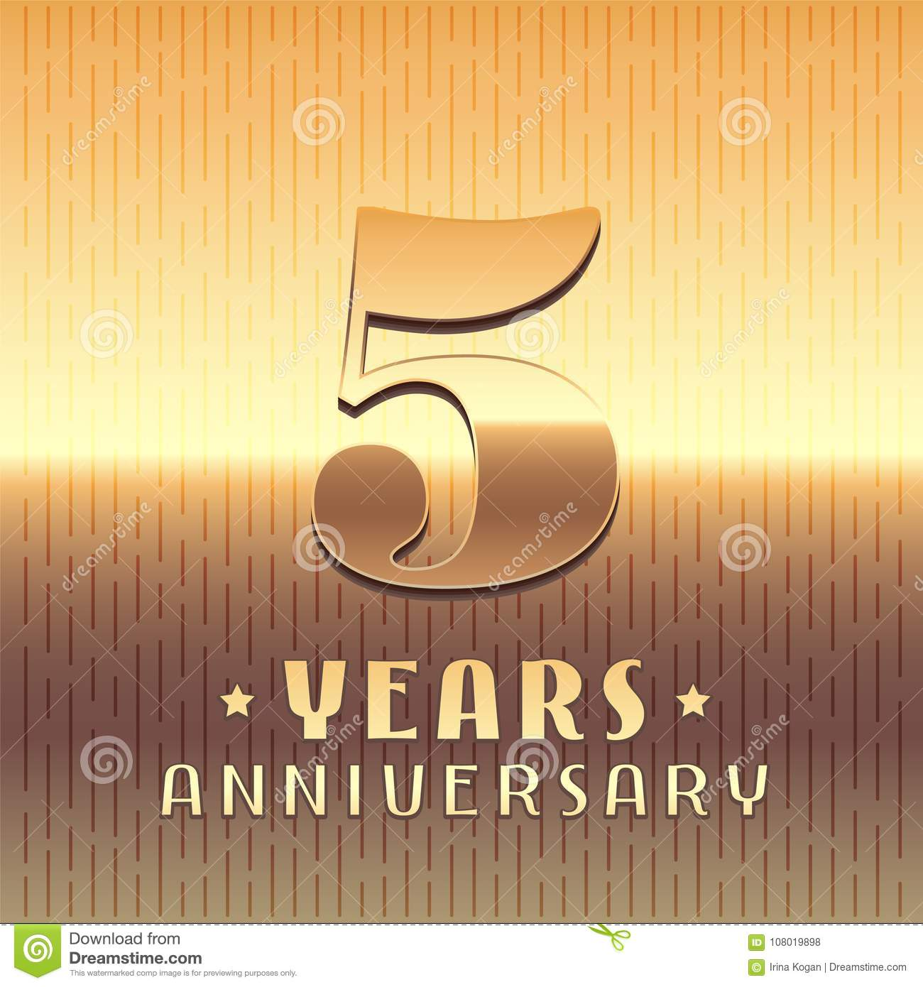 5 Years Anniversary Vector Icon Symbol Stock Vector Illustration