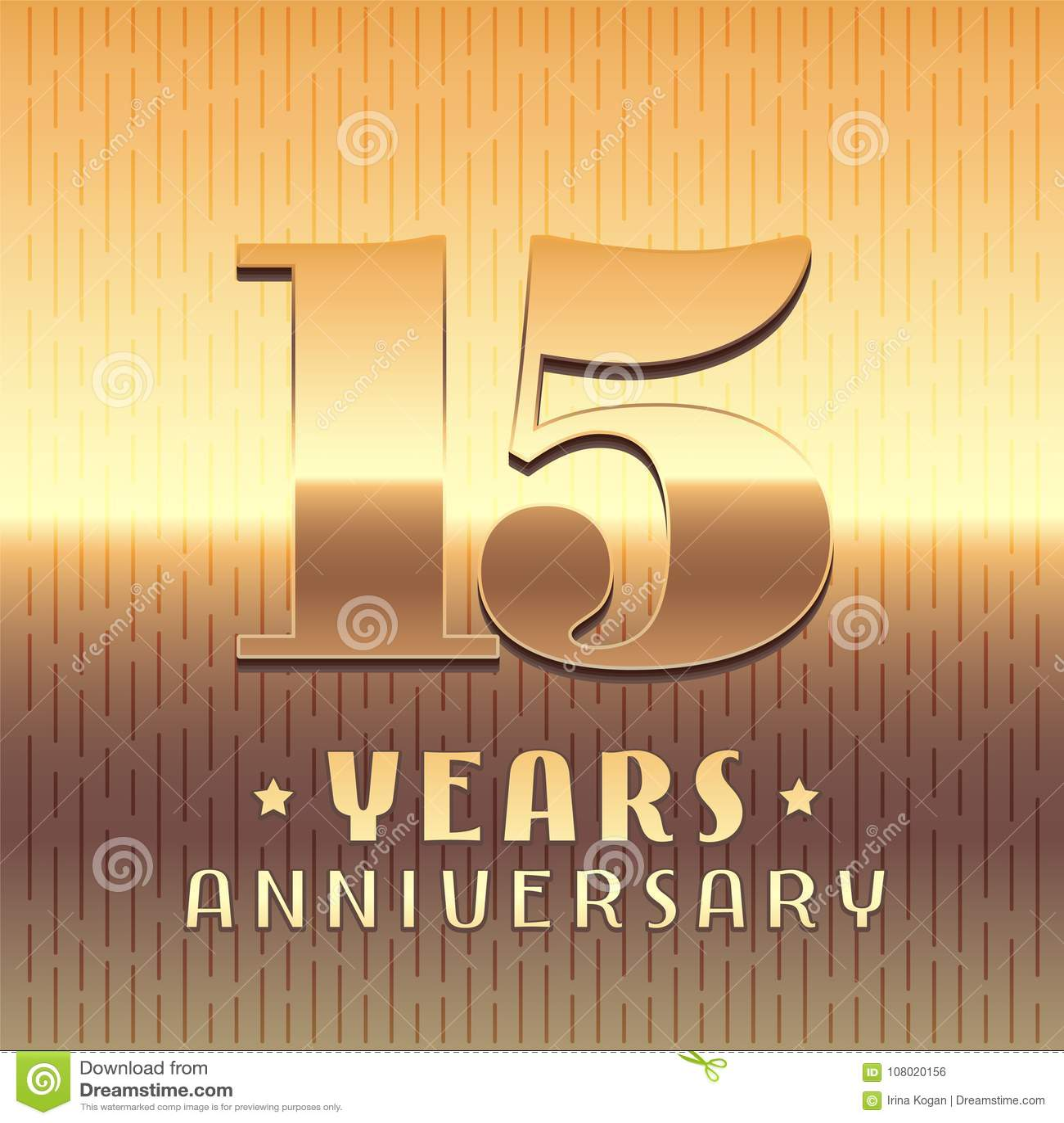 15 Years Anniversary Vector Icon Symbol Stock Vector Illustration