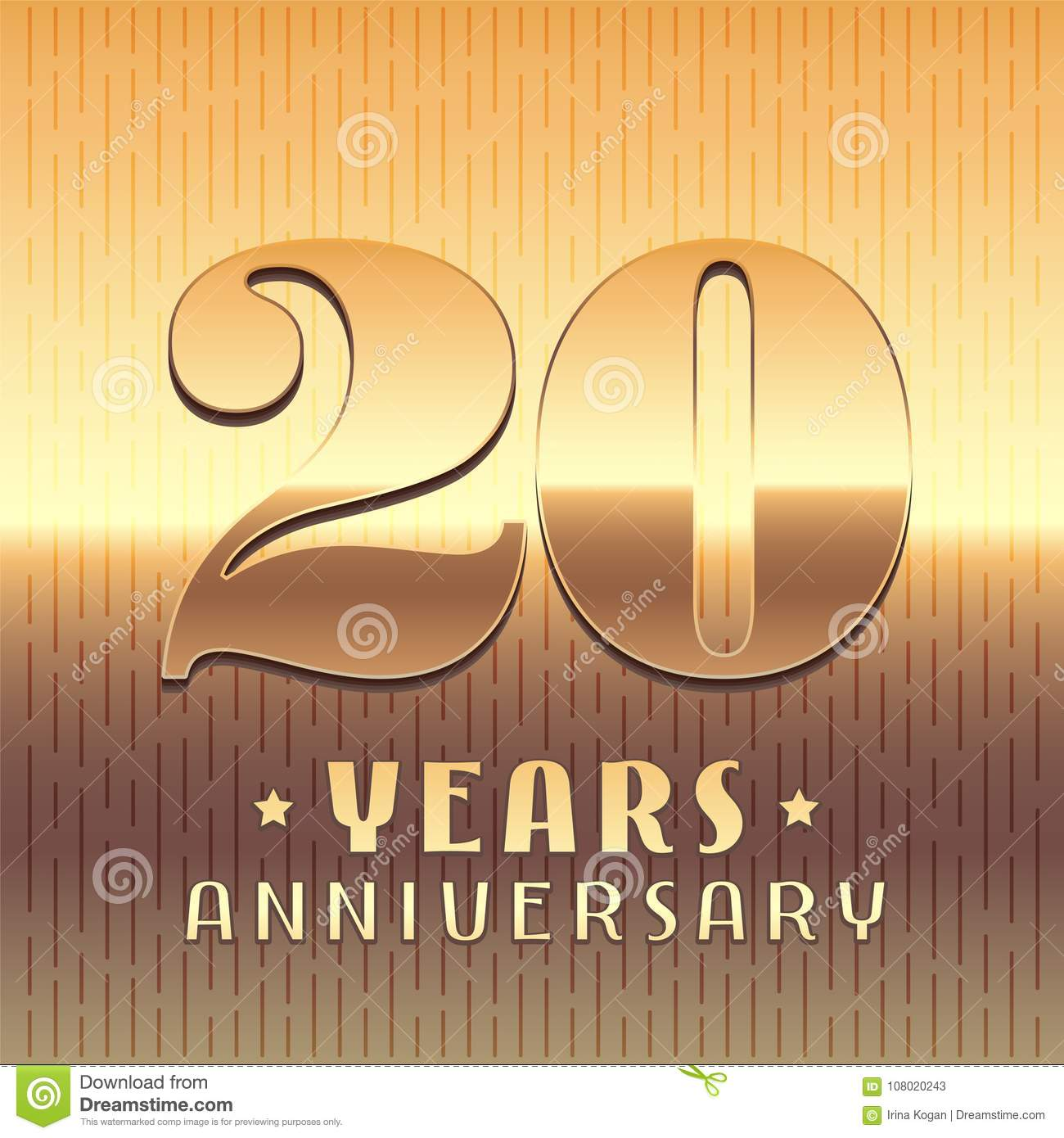 20 Years Anniversary Vector Icon Symbol Stock Vector Illustration