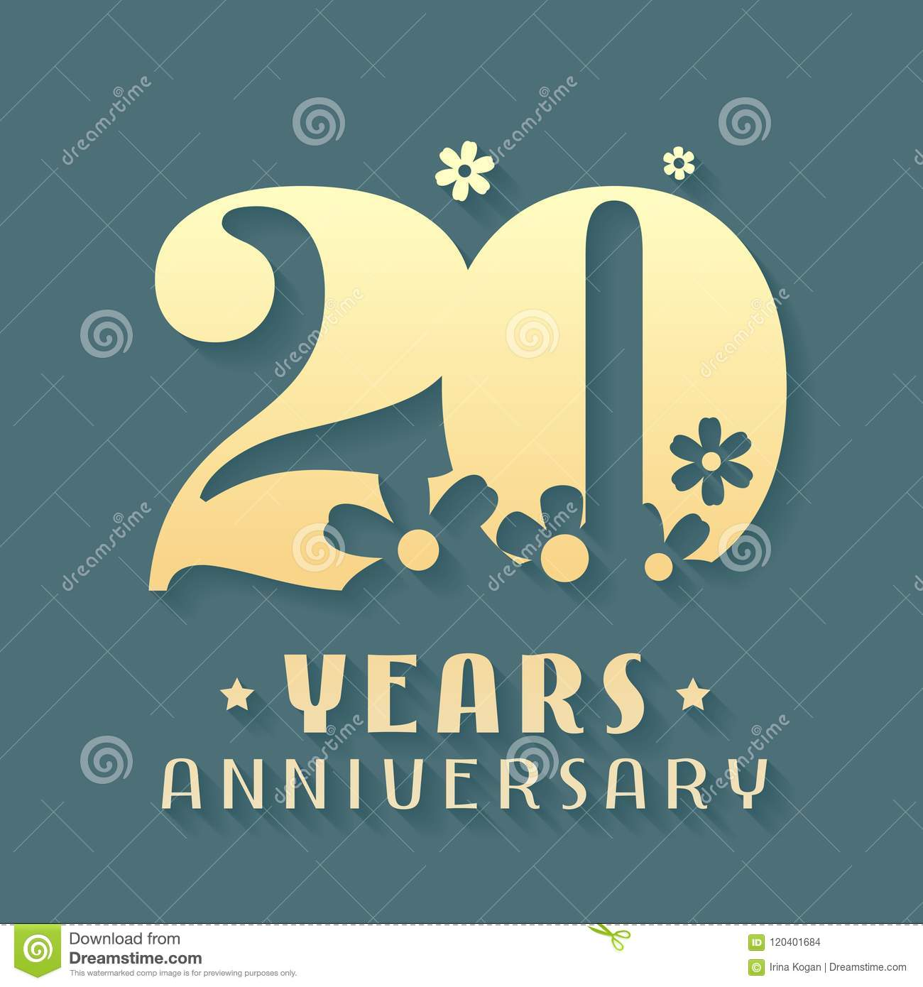 20 Years Anniversary Vector Icon Symbol Logo Stock Vector