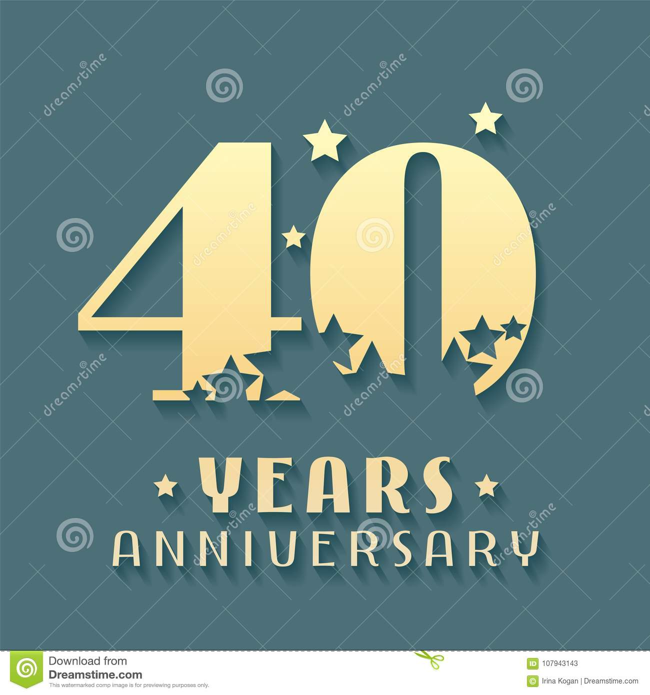 40 Years Anniversary Vector Icon Symbol Logo Graphic Design Element For 40th Birthday Card
