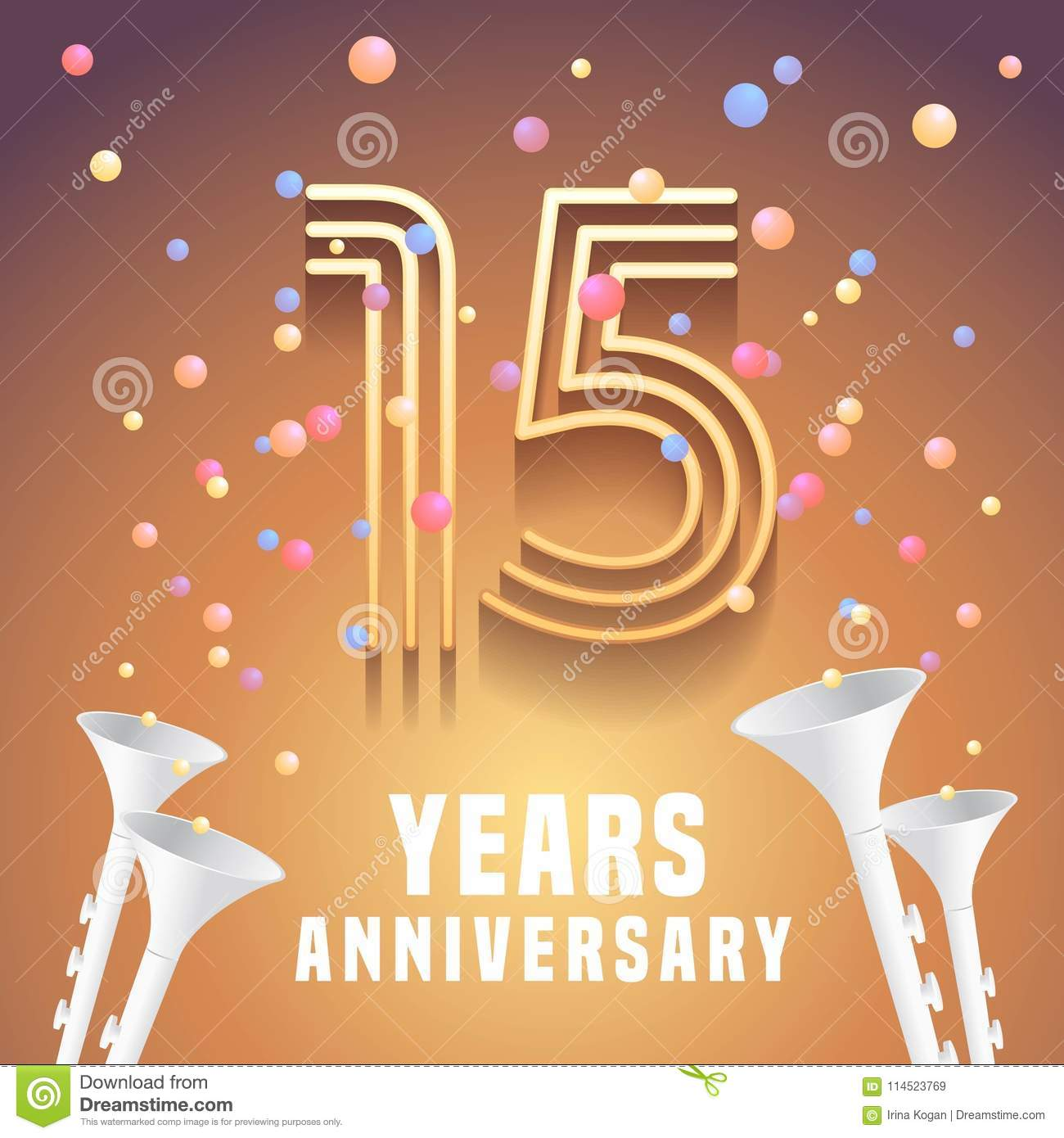 15 Years Anniversary Vector Icon Symbol Stock Vector Illustration