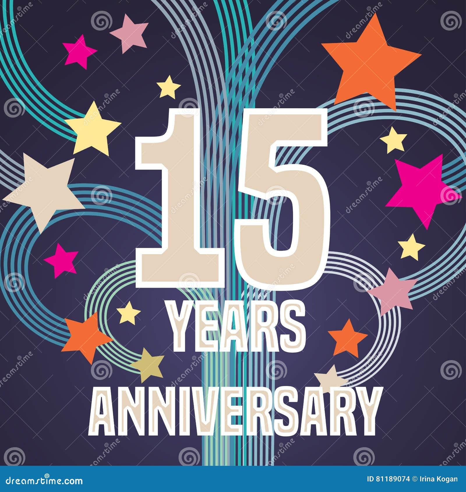 15 Years Anniversary Vector Illustration Banner Flyer Icon
