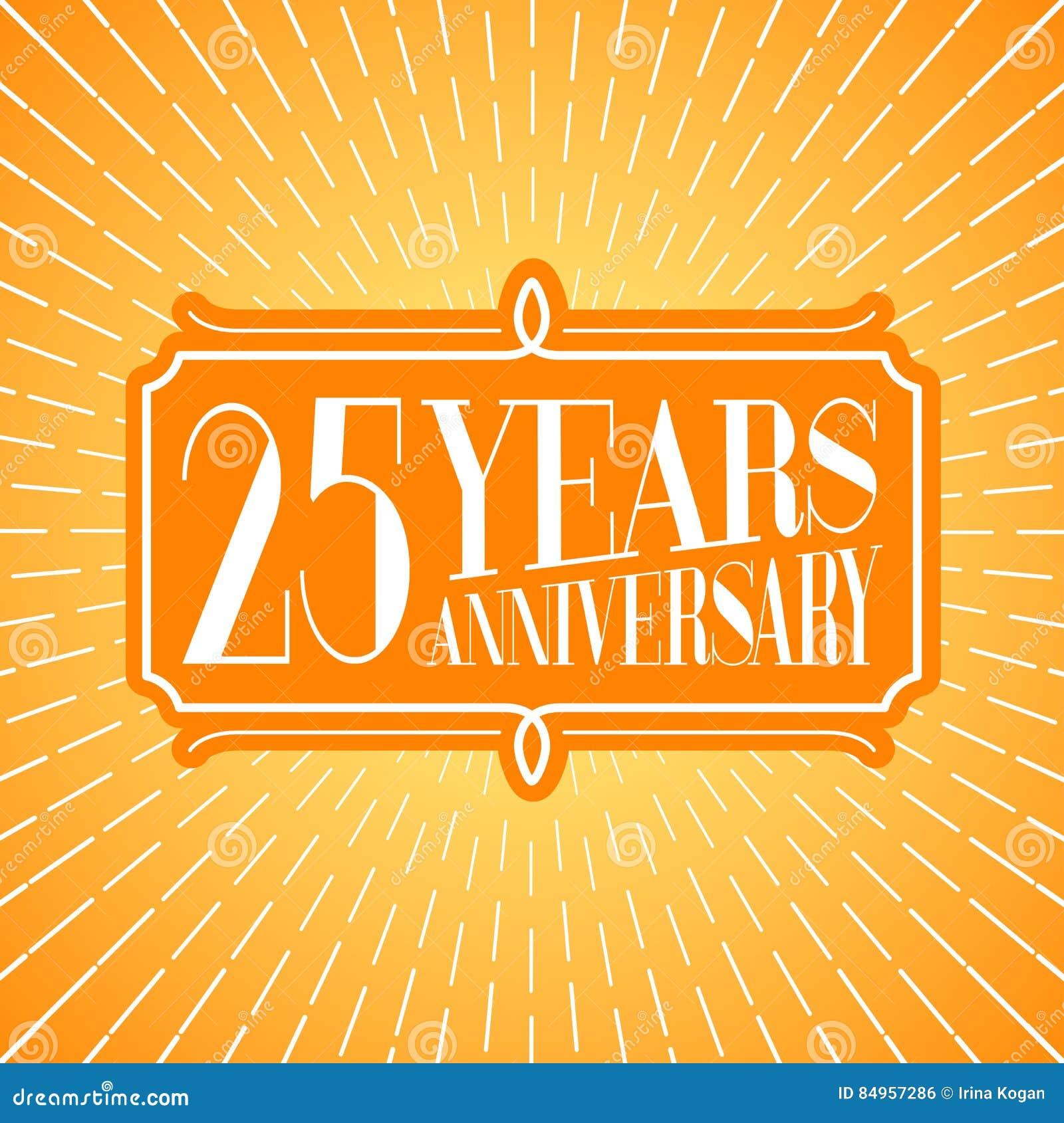 25 Years Anniversary Vector Illustration Icon Logo Stock Vector