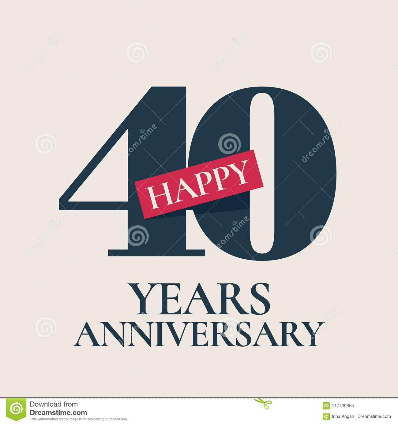 40 years anniversary vector logo icon stock vector illustration