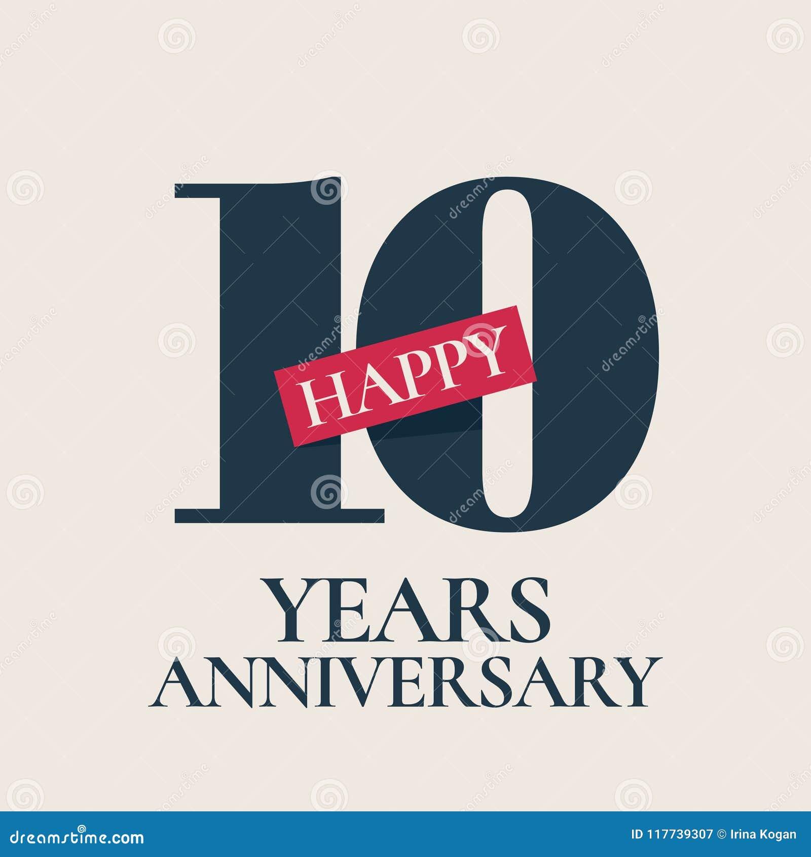 10 Years Anniversary Vector Logo Icon Stock Vector Illustration