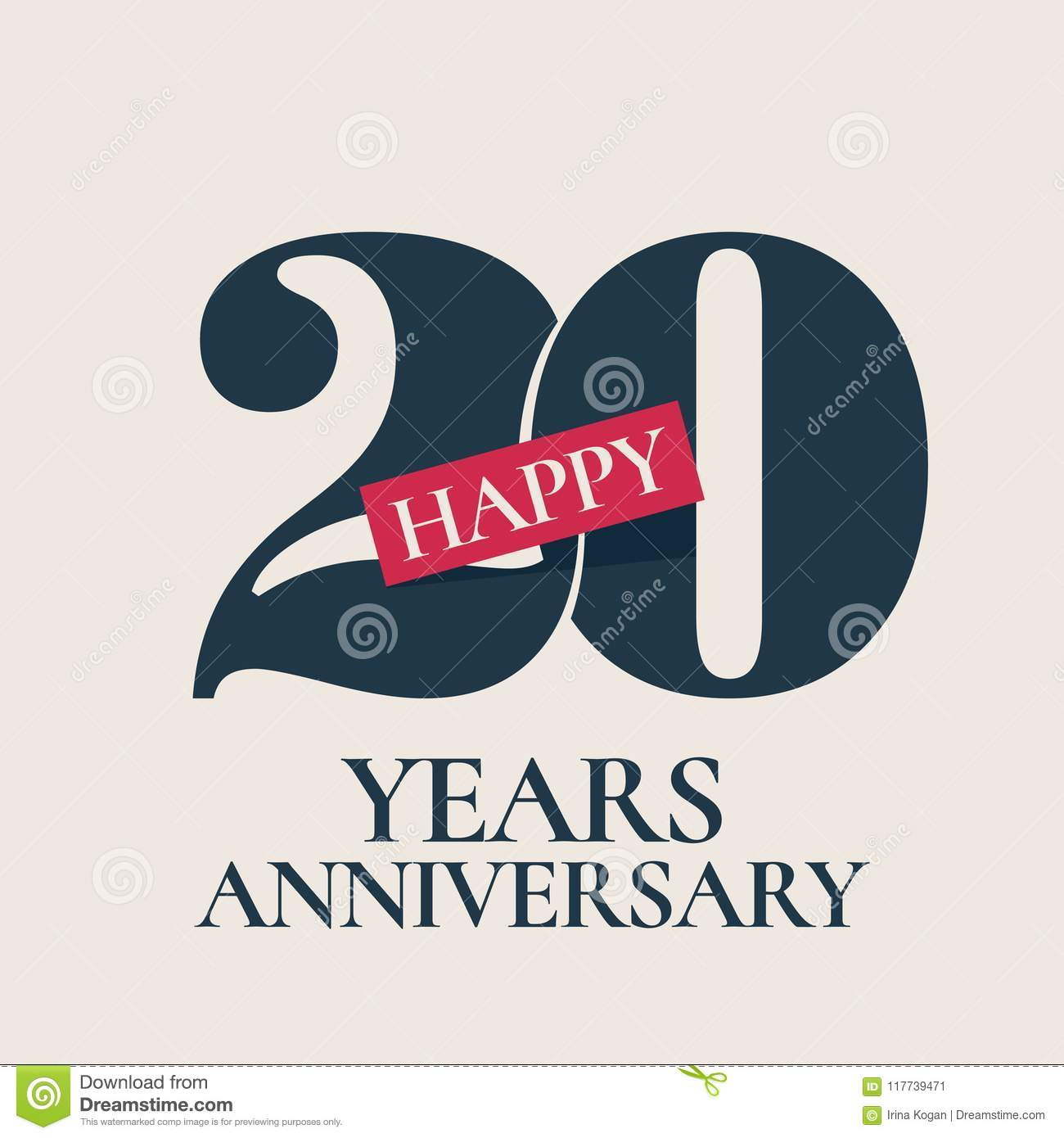 20 Years Anniversary Vector Logo Icon Stock Vector Illustration