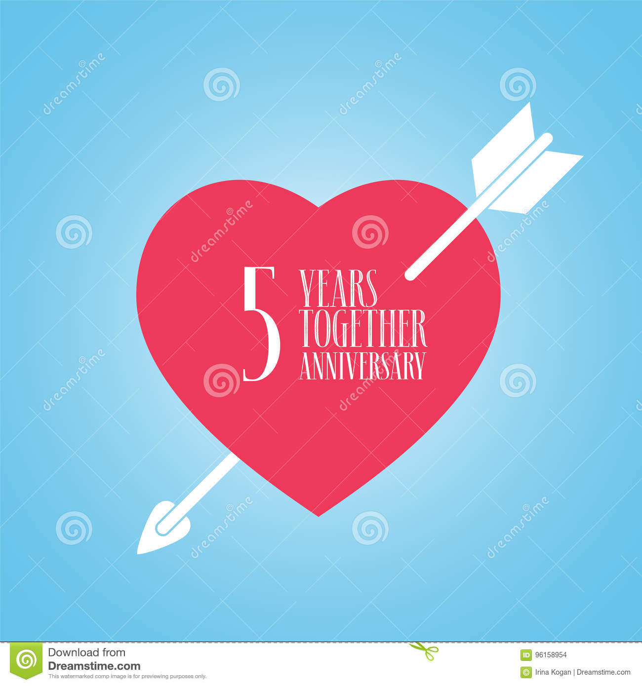 Quinto Anniversario Di Matrimonio.5 Years Anniversary Of Wedding Or Marriage Vector Icon