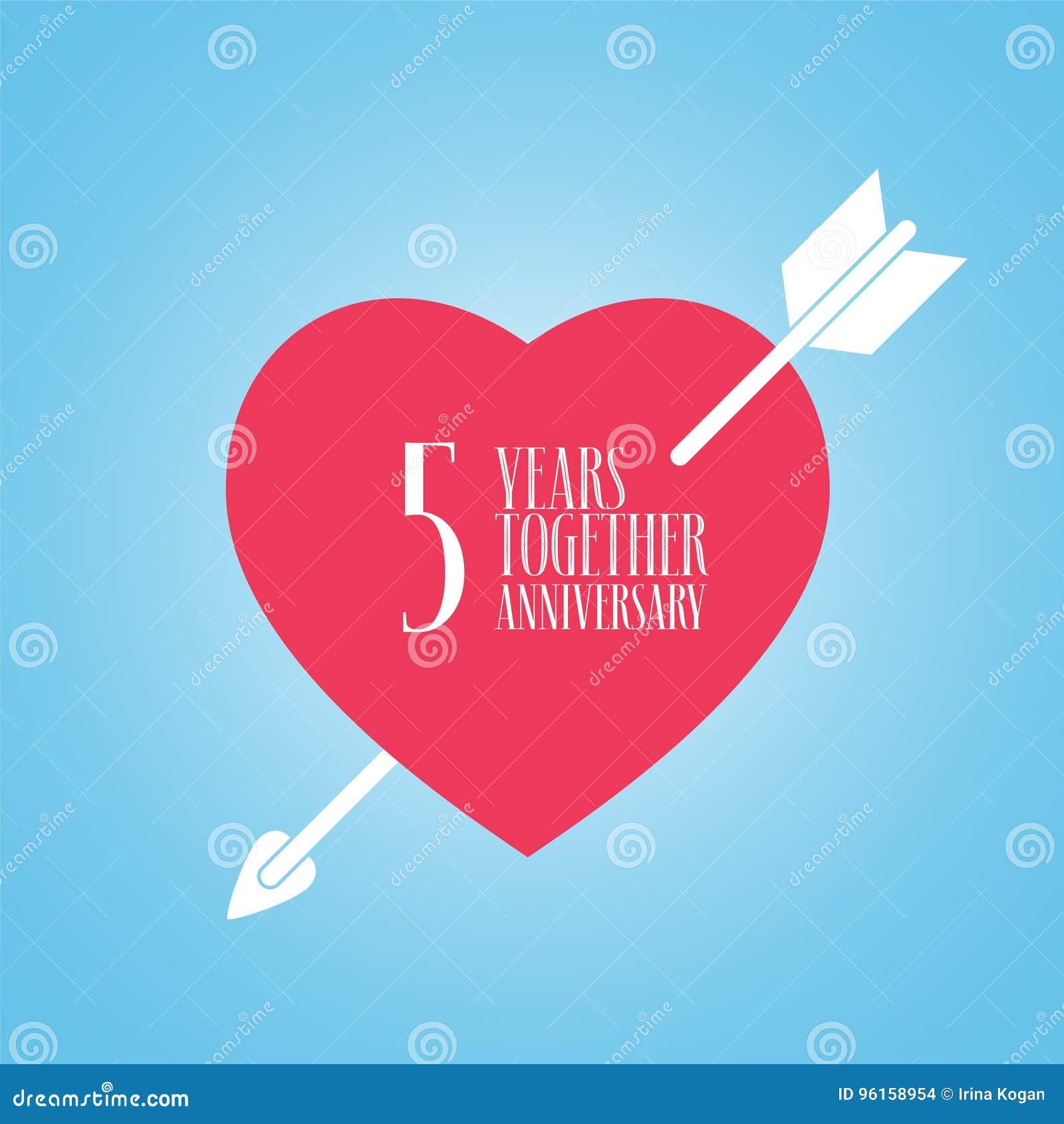 Quinto Anniversario Di Matrimonio.5 Years Anniversary Of Wedding Or Marriage Vector Icon
