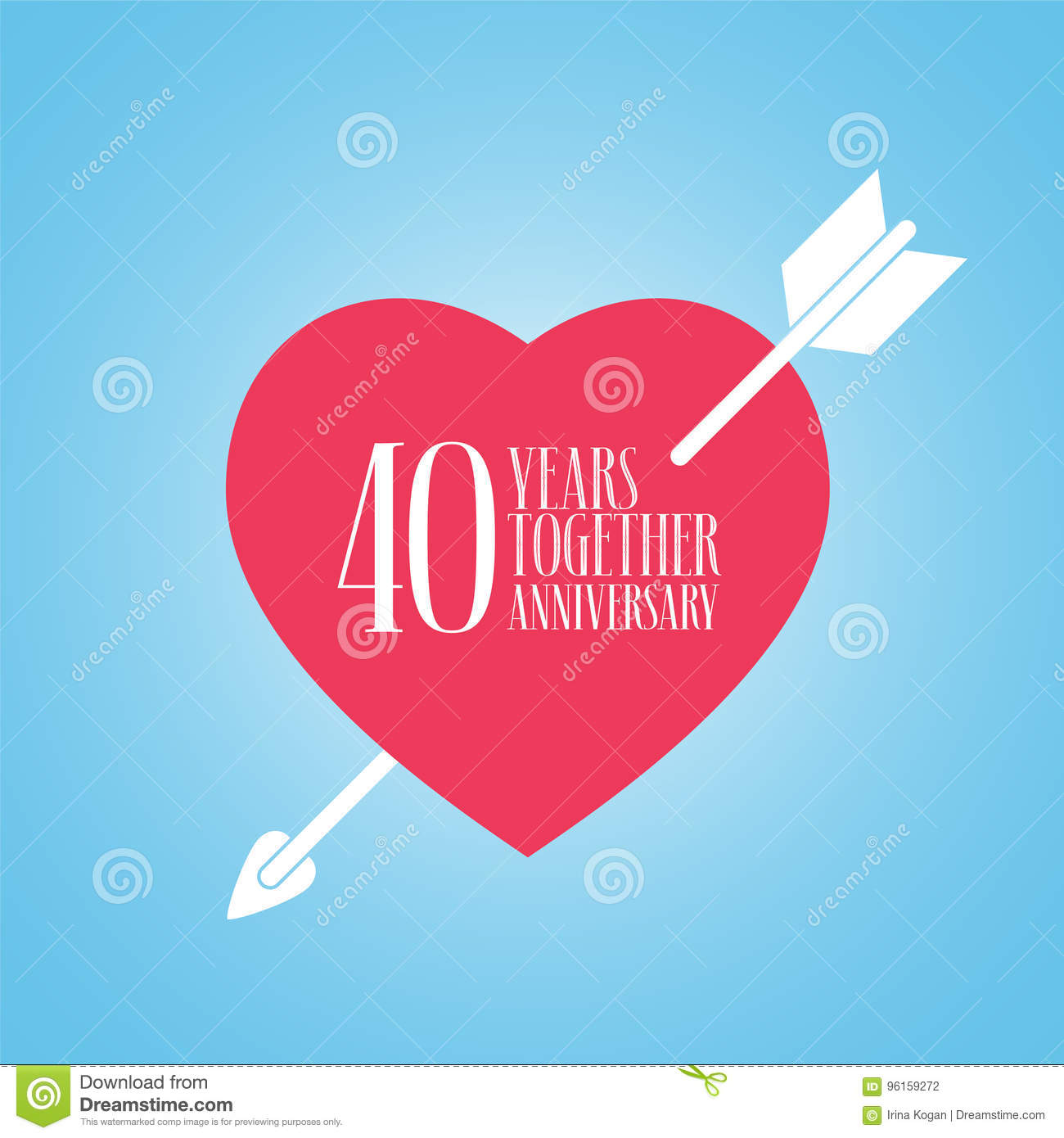 40 Years Anniversary Of Wedding Or Marriage Vector Icon