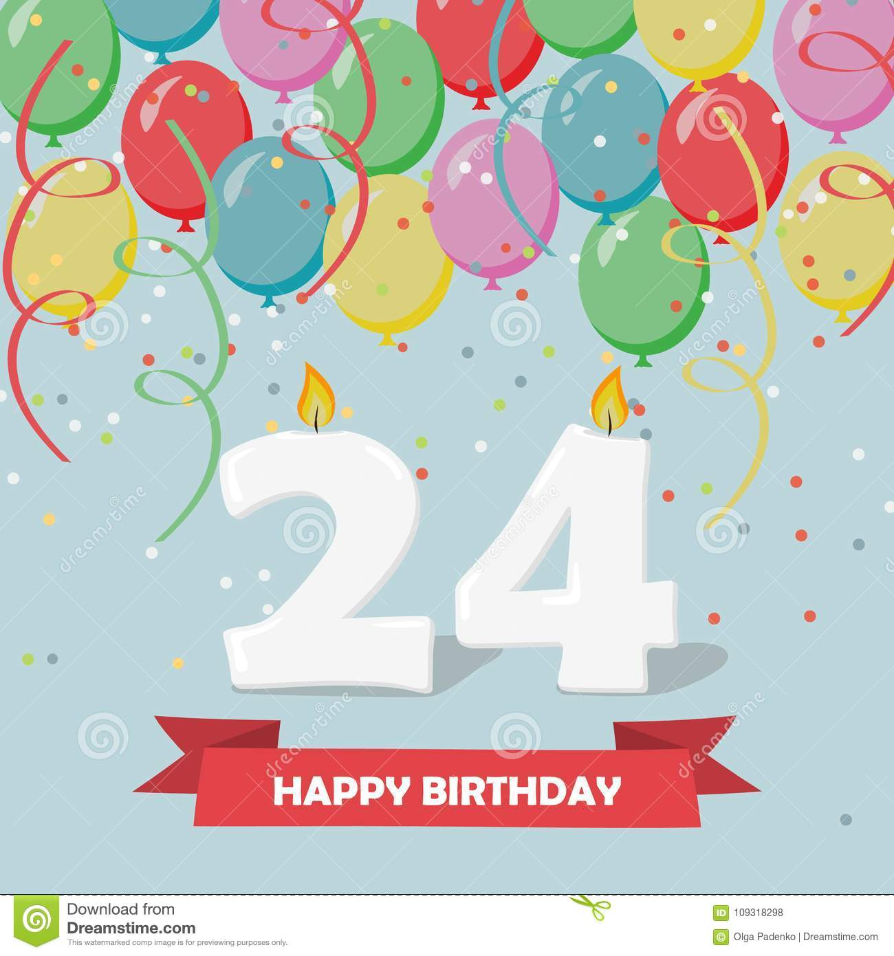 24 Years Celebration Happy Birthday Greeting Card With Candles Confetti And Balloons