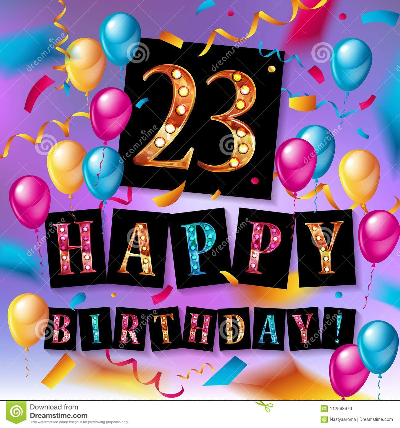 23 Years Celebration Happy Birthday Greeting Card With Candles Confetti And Balloons