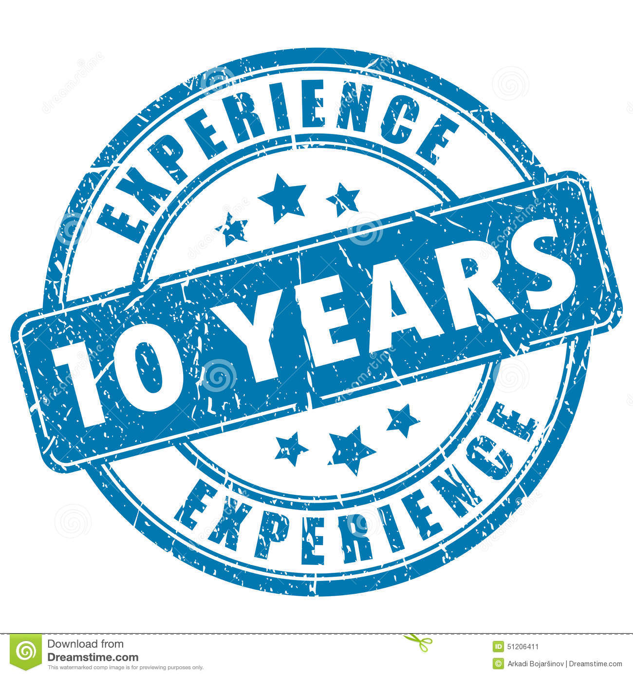 10 years experience stamp stock vector  illustration of isolated