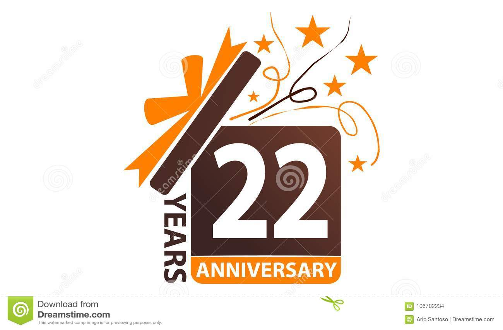 22 years gift box ribbon anniversary stock vector illustration of