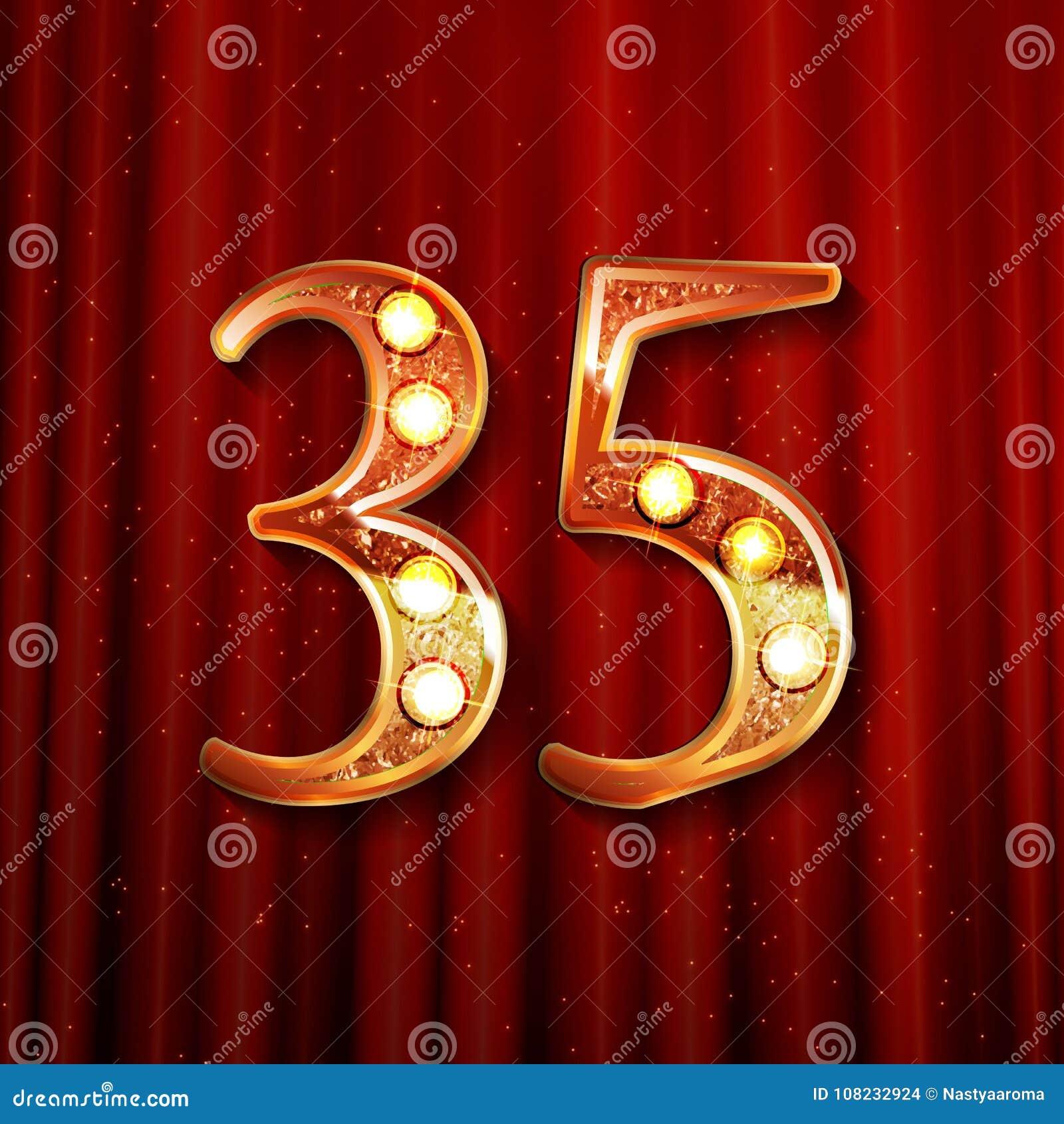 35 Years Gold Anniversary Celebration Logo Stock Illustration