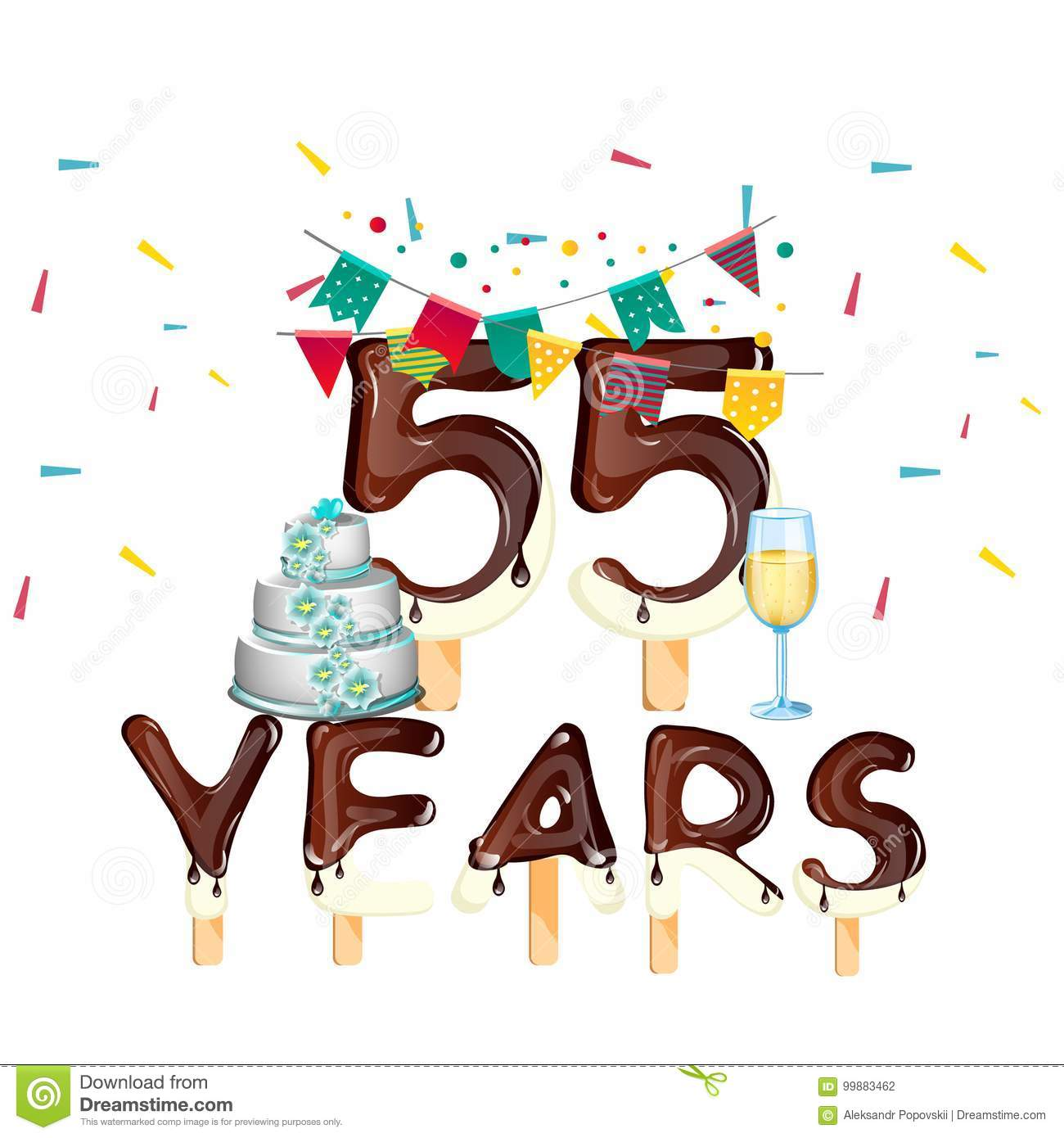 55 Years Happy Birthday Card