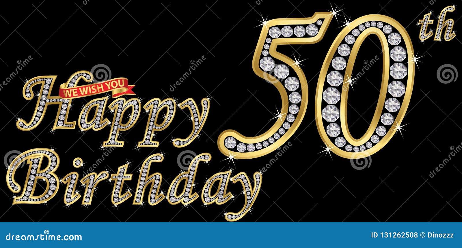 50 Years Happy Birthday Golden Sign With Diamonds Vector