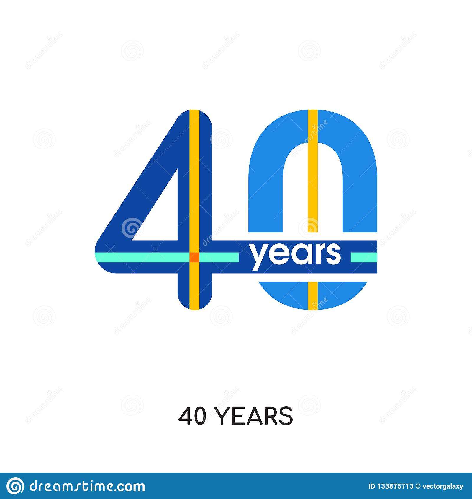 40 years logo isolated on white background for your web, mobile