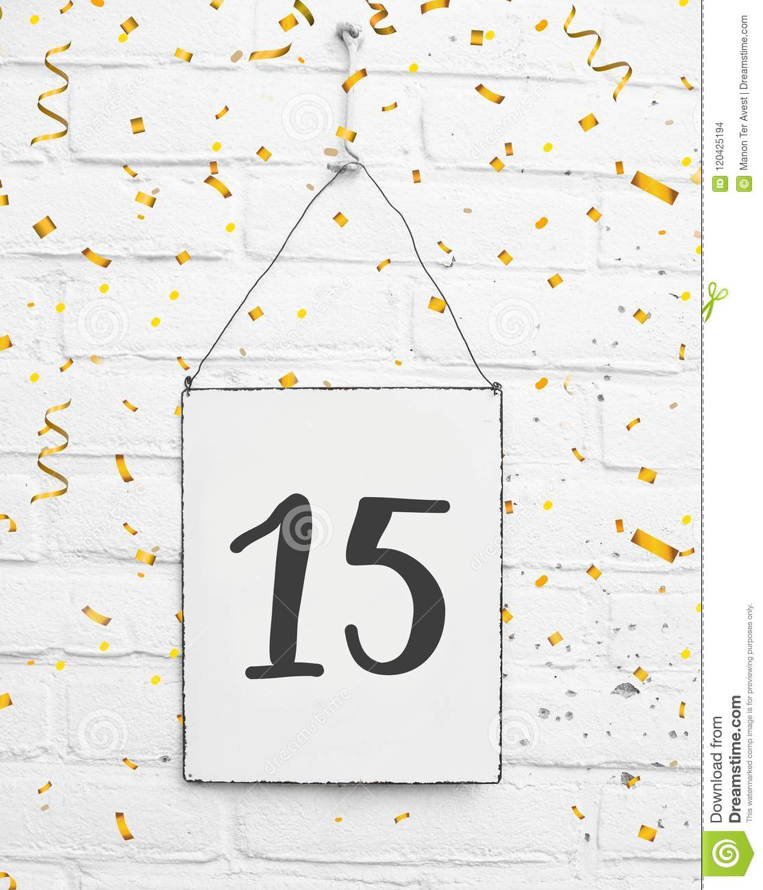 15 years old birthday party card with number fifteen with golden