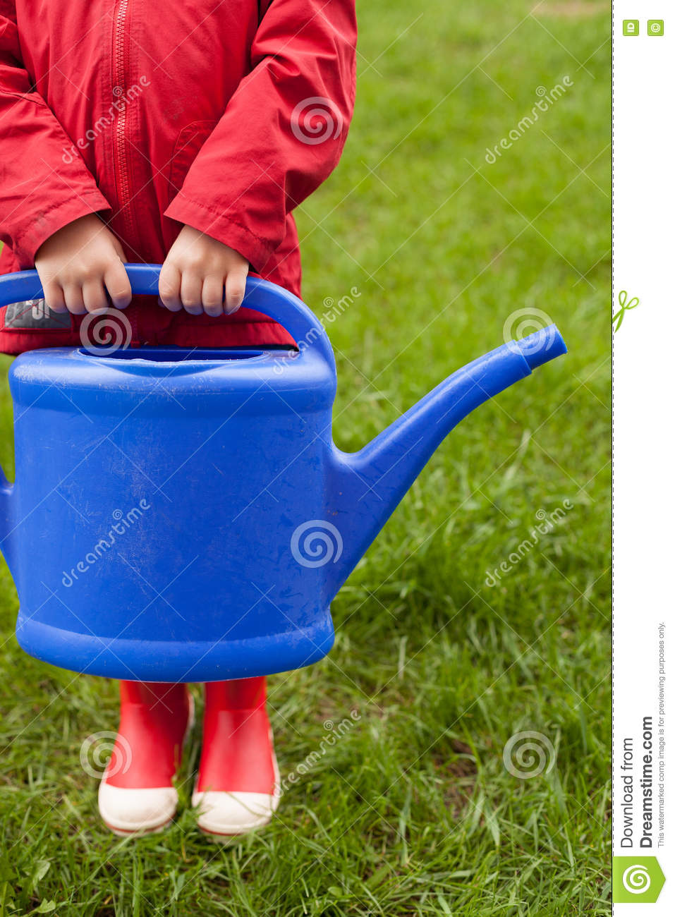 4 years old boy in a red jacket and rubber boots is going to water a tree and from a nice big blue watering can.