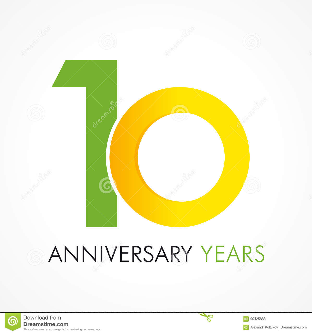 10 Years Old Celebrating Classic Logo Stock Vector