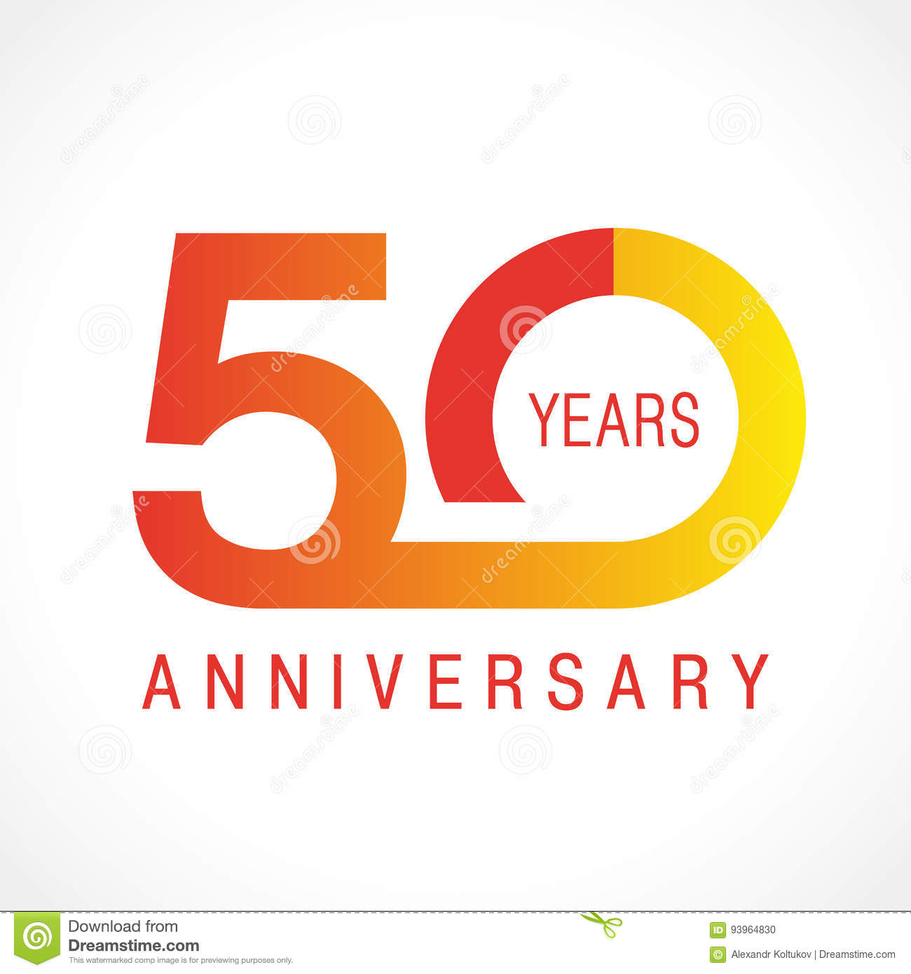 50 Years Old Celebrating Classic Logo Stock Vector Illustration