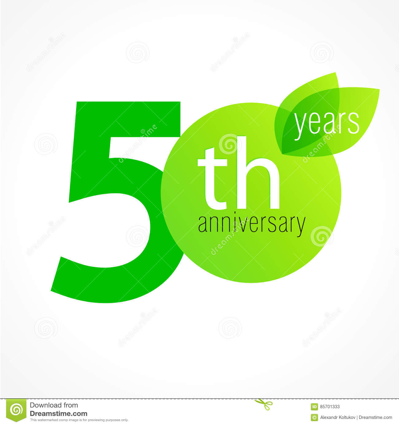50 Years Old Celebrating Green Leaves Logo Stock Vector