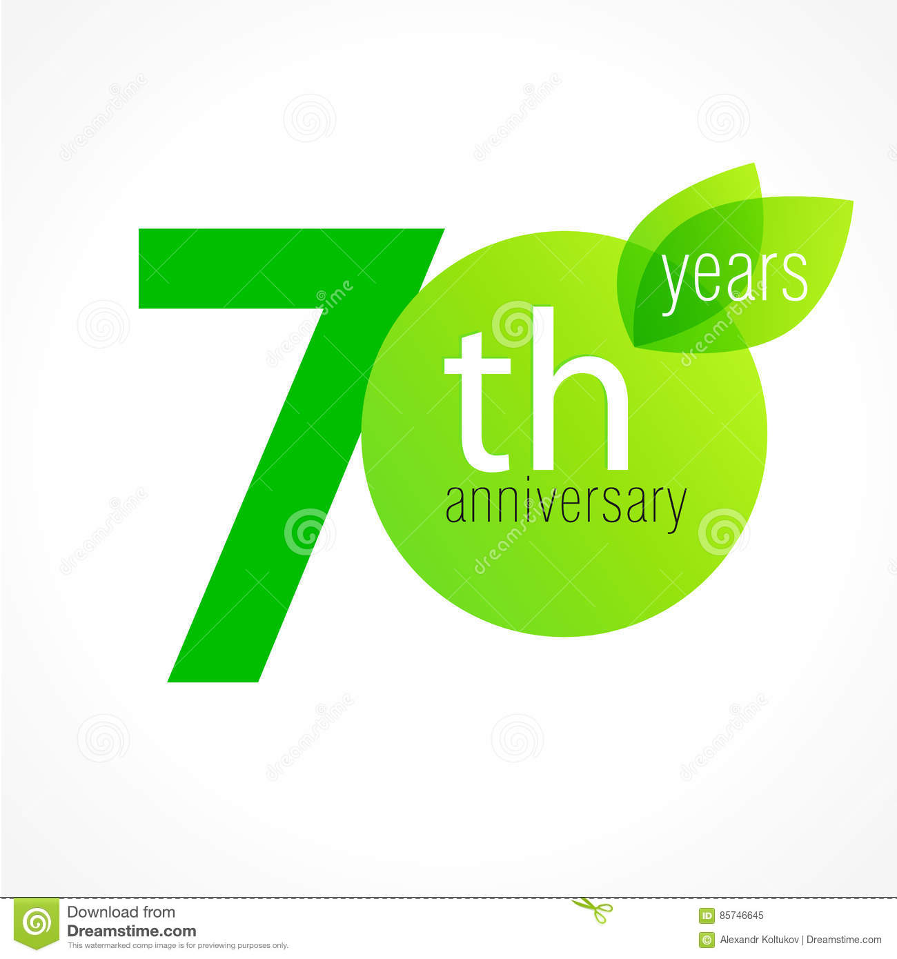70 Years Old Celebrating Green Leaves Logo