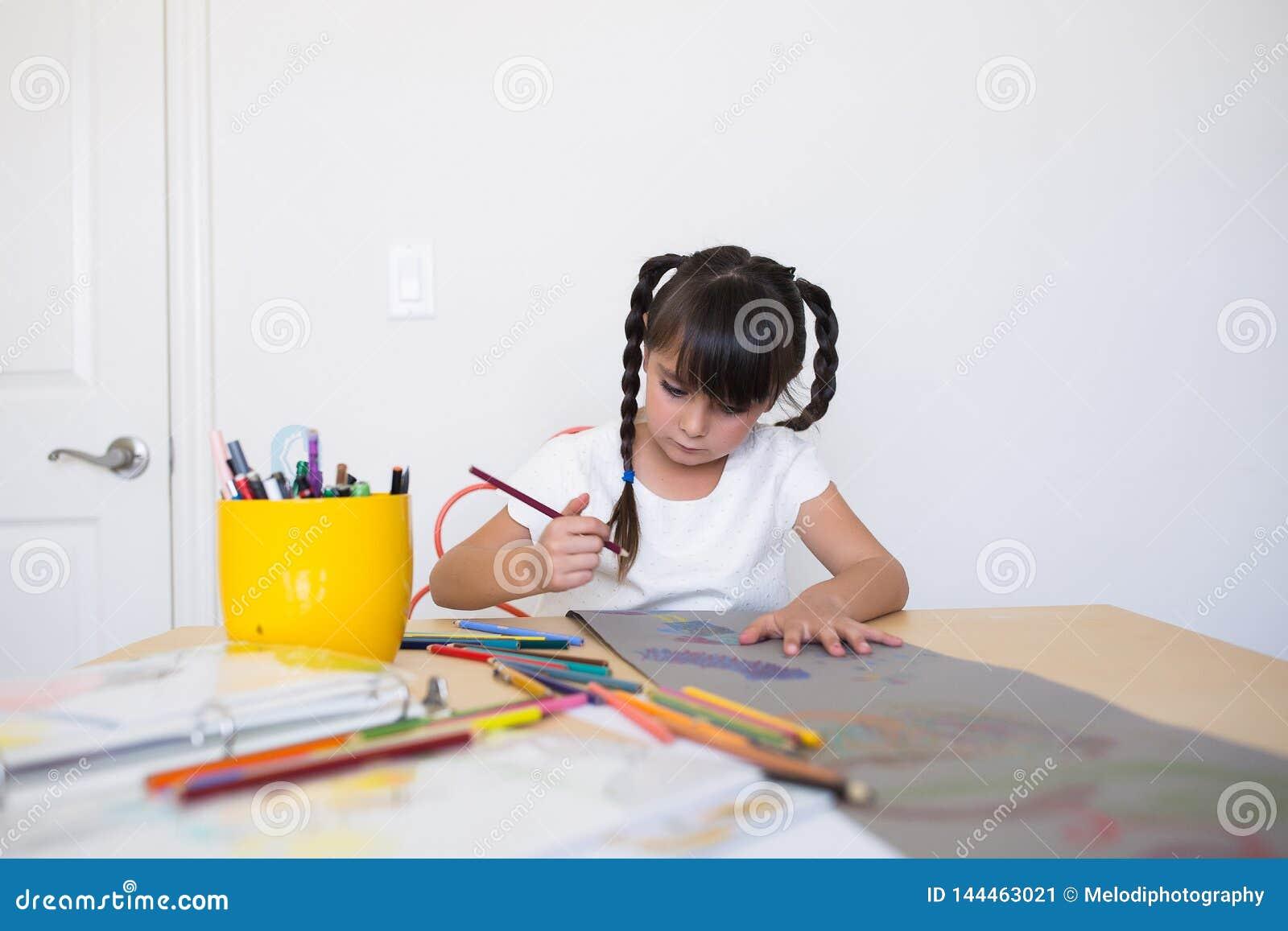 Girl making artwork