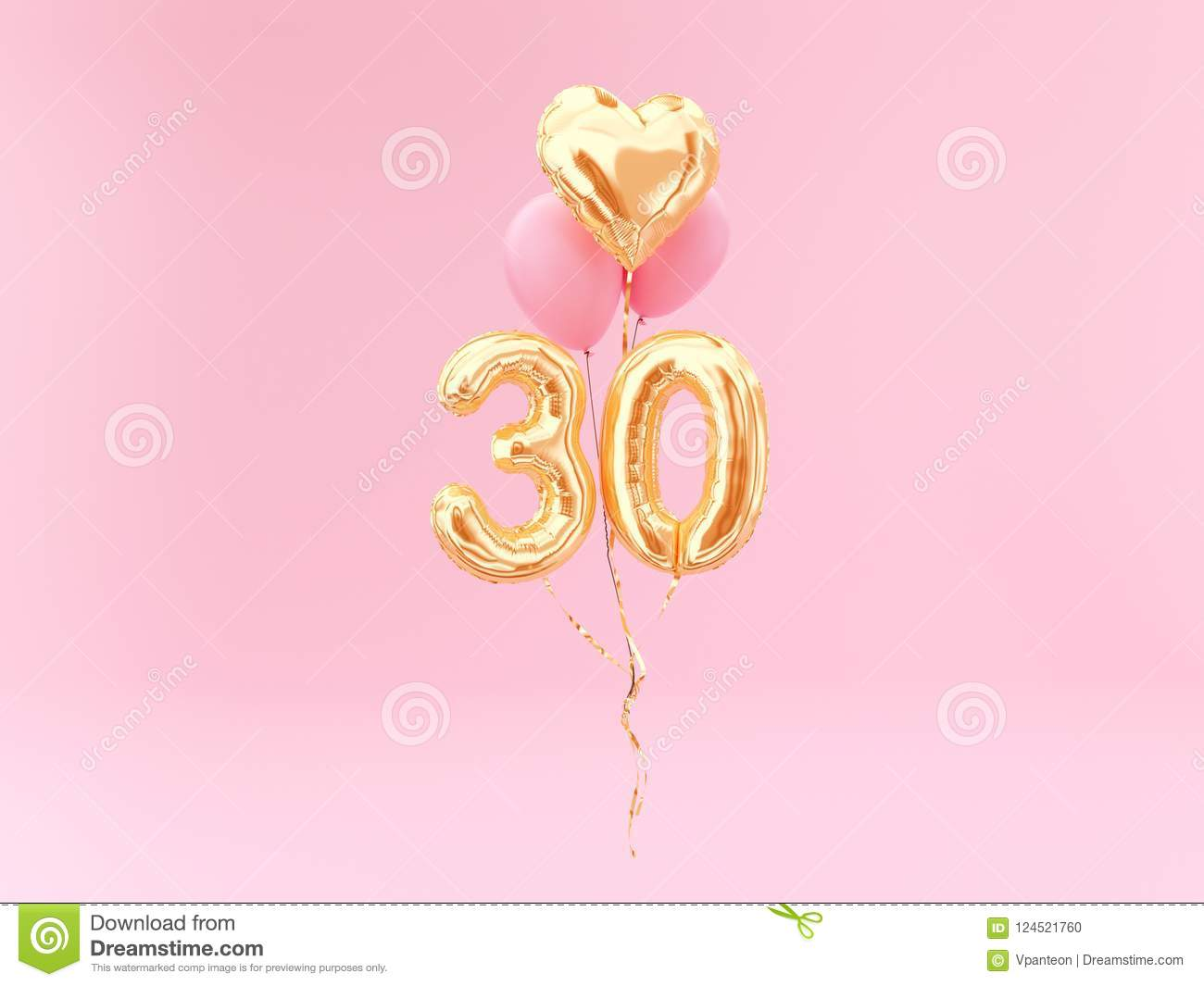 30 Years Old Gold Balloons Number 30th Anniversary Stock