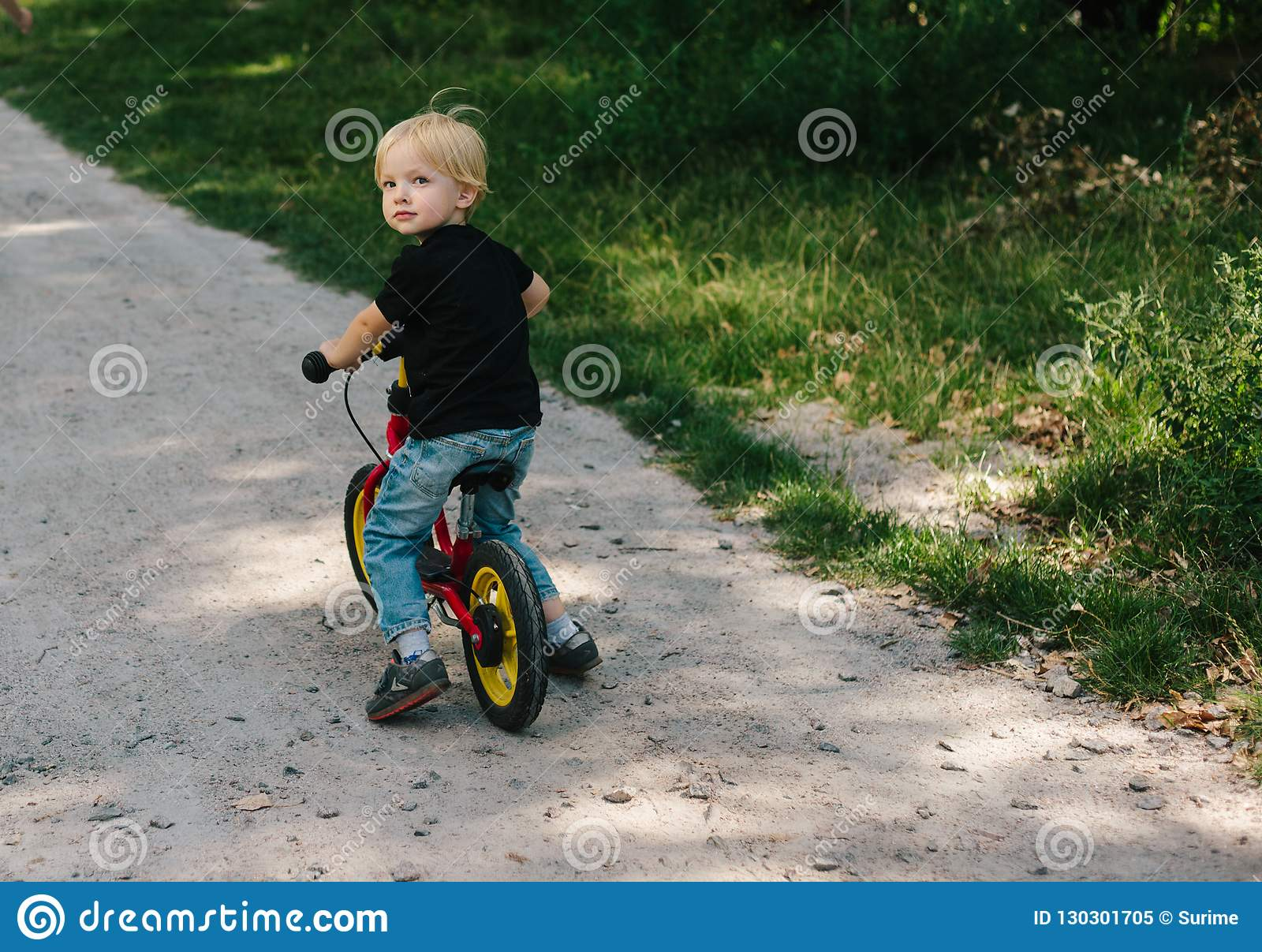 Caucasian Kid On Bicycle Stock Image Image Of Nature 130301705