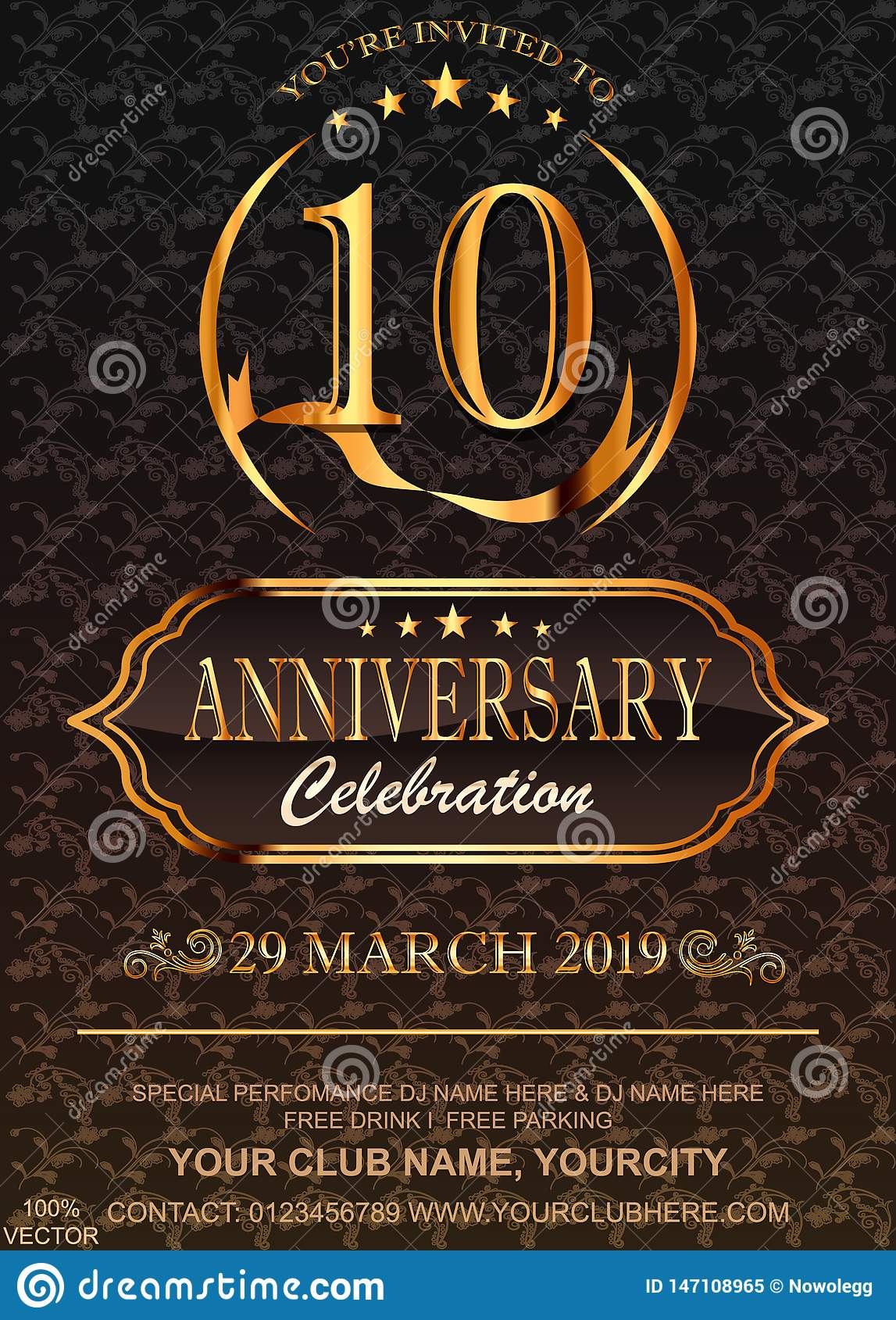 10 Anniversary gold numbers on floral pattern background. Celebration 10th anniversary event party template.