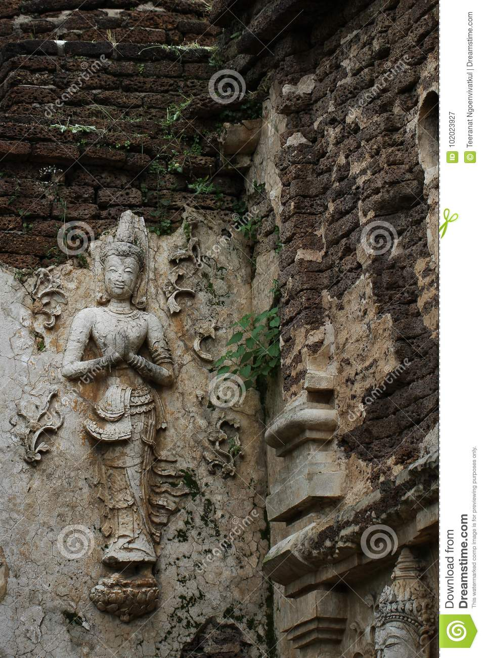 400 Years Old Ruined Ancient Standing And Praying Of Male Angel