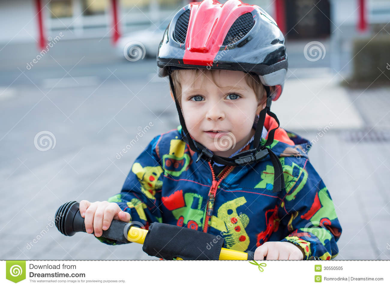 2 Years Old Toddler Riding On His First Bike Stock Image Image Of