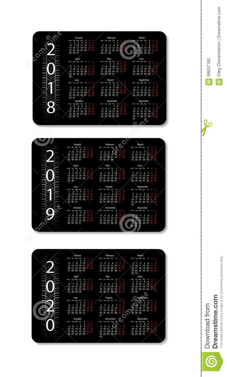 Calendar For 2019 And 2020 Vector Illustration