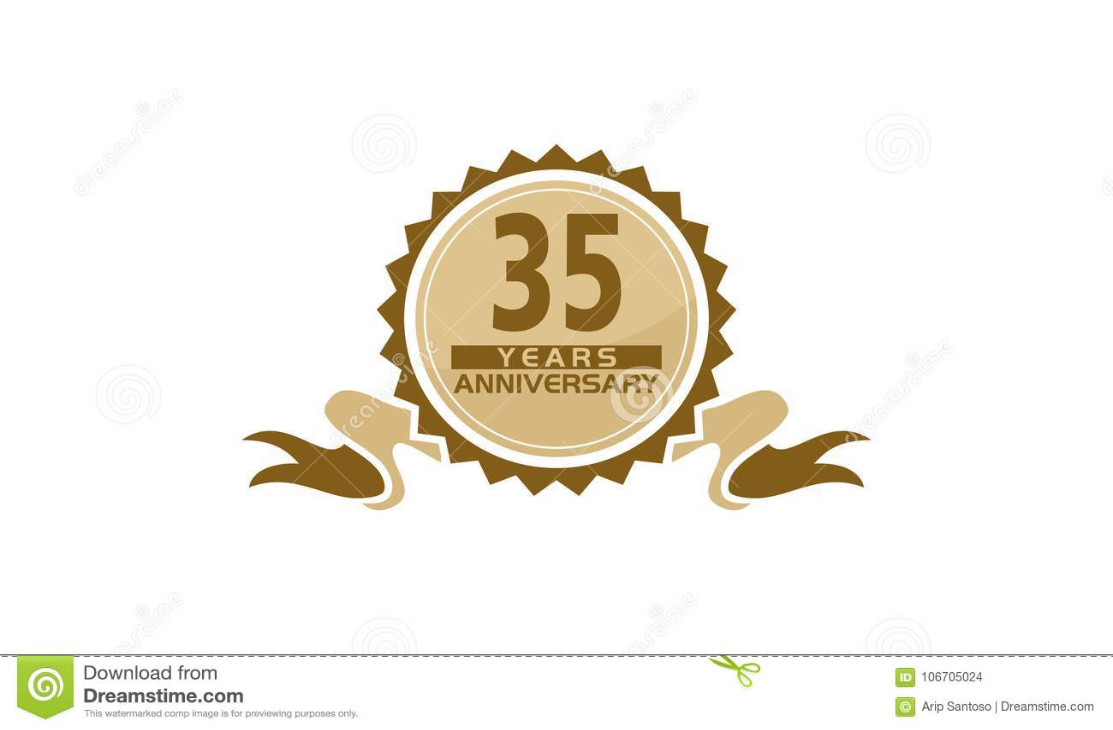 35 Years Ribbon Anniversary Stock Vector Illustration Of Greeting