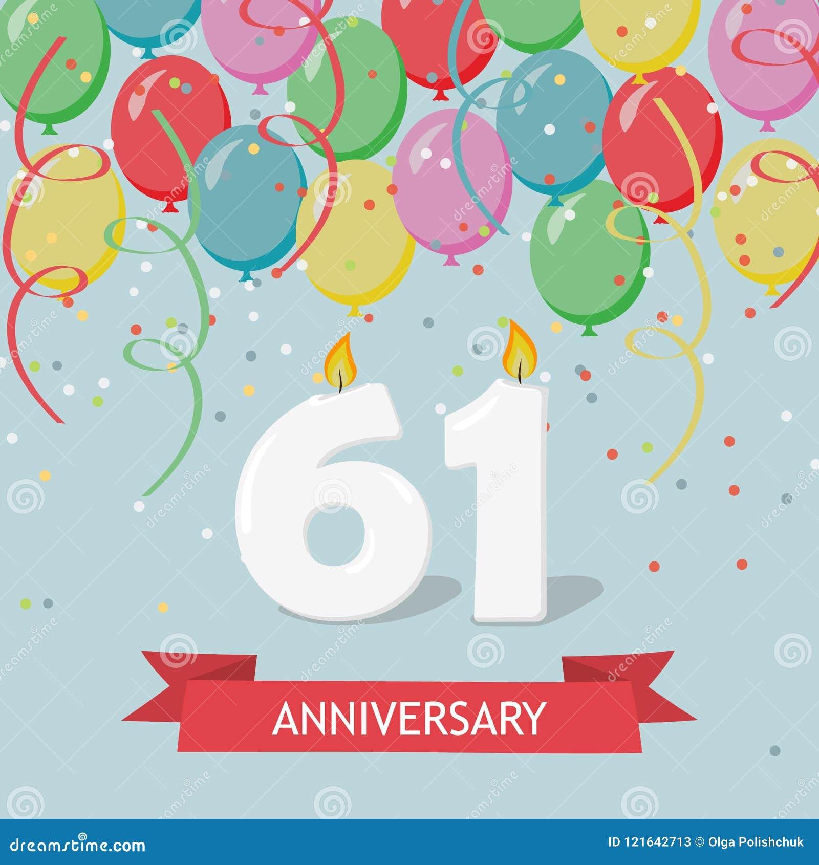 61 Years Selebration Happy Birthday Greeting Card Stock