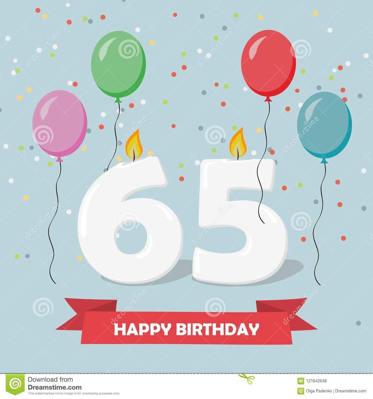 65 Years Selebration Happy Birthday Greeting Card With Candles Confetti And Balloons