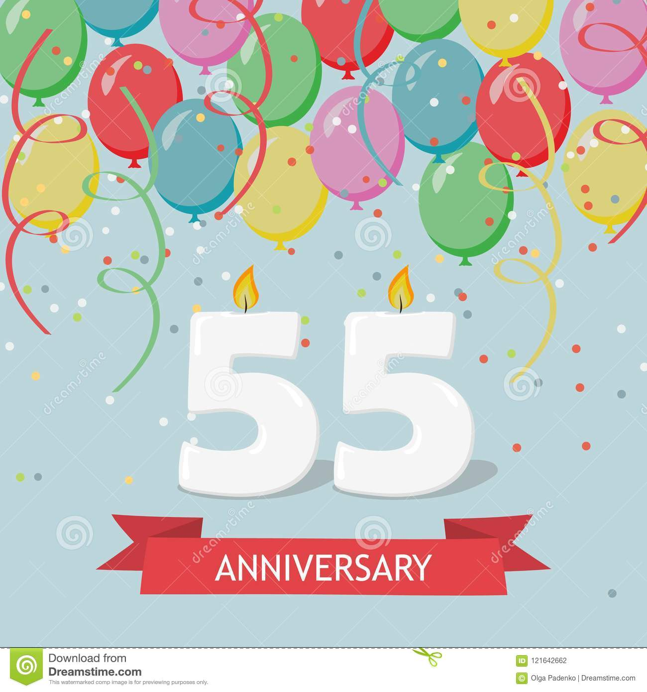 55 Years Selebration Happy Birthday Greeting Card