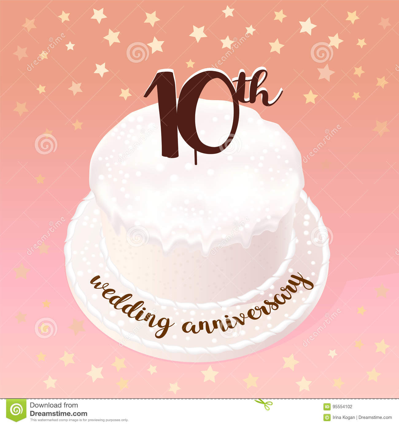 10 Year Wedding Anniversary.10 Years Of Wedding Or Marriage Vector Icon Illustration Stock