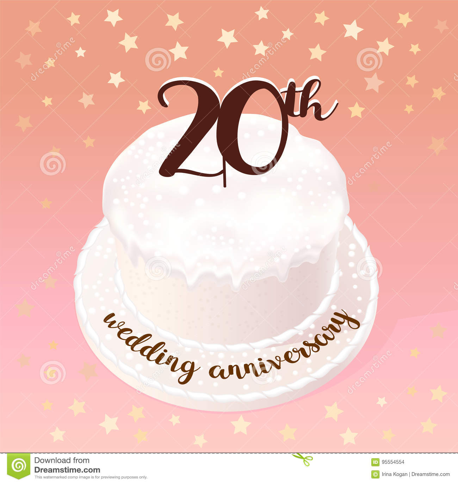 Anniversario Di Matrimonio 20.20 Years Of Wedding Or Marriage Vector Icon Illustration Stock