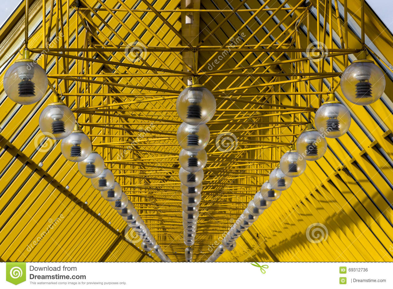 Yellow abstract ceiling. modern architecture with a rhythmic, diagonal forms