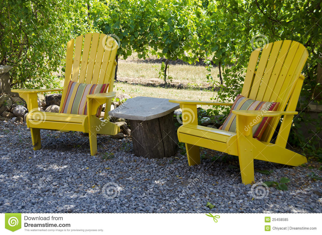 Royalty Free Stock Photo. Download Yellow Adirondack Chairs On A Patio ...