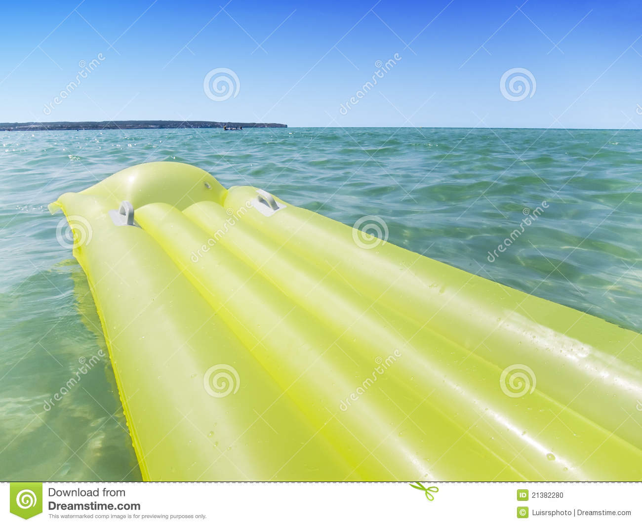 Yellow Airbed In The Sea Stock Photo Image Of Holiday