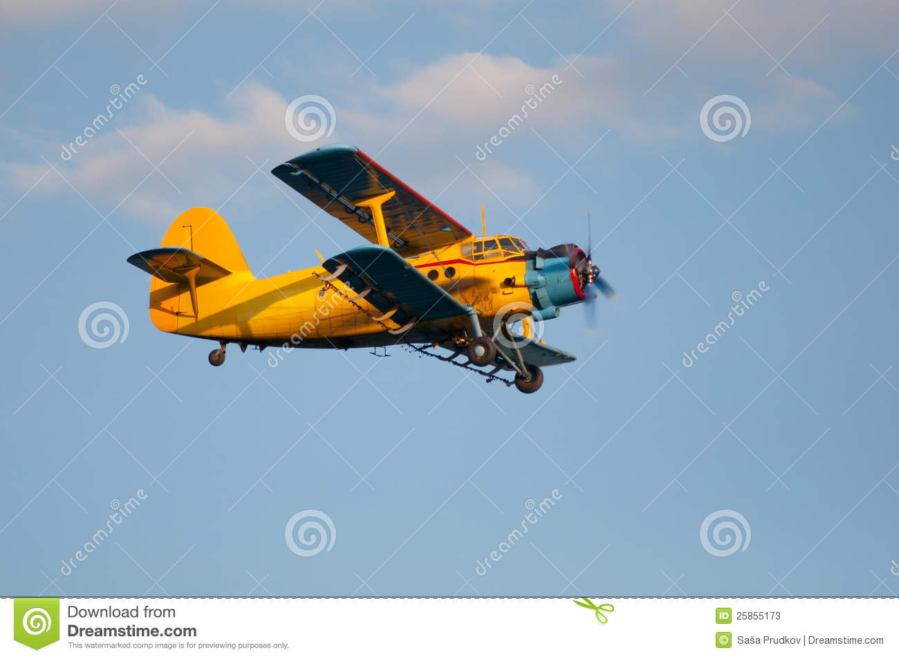 yellow-airplane-double-wings-flying-high